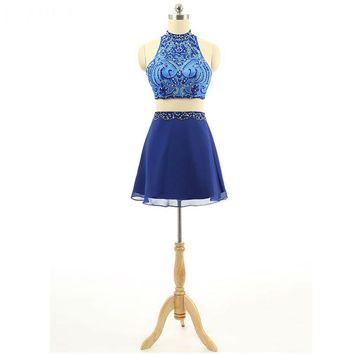 Prom Dresses Royal Blue Beading Prom Dress Sexy Halter Neck A-line Short Prom Dresses 2 Pieces