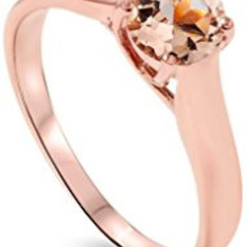263 6MM Morganite Solitaire Ring 14K Rose Gold