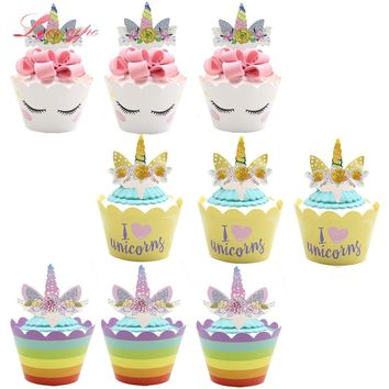 24PCS Cartoon Rainbow Unicorn Cupcake Wrappers  DIY Candy Bar Cake Toppers Wedding Party Supplies Kids Birthday Decorations