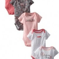 Calvin Klein BabyGirls Newborn 5 Pack Short Sleeve Bodysuit Coral And Group, Multi, 3/6 Months