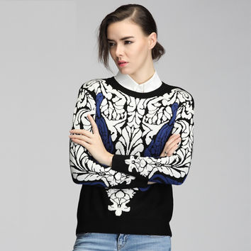 Winter England Style Stylish Patchwork Pullover Sweater [9056519238]