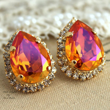 Orange pink Automne Swarovski Rhinestone Teardrop studs earring - 14k Gold plated  post earrings real swarovski rhinestones.