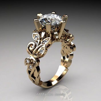 Nature Inspired 14K Yellow Gold 3.0 Ct White Sapphire Diamond Leaf and Vine Crown Solitaire Ring RD101-14KYGDWS