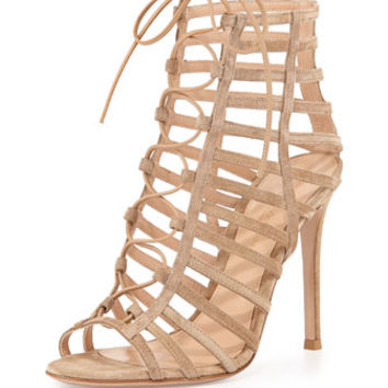 Gianvito Rossi Suede Caged Lace-Up Sandal