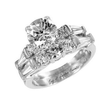 A Flawless 1.6CT Round Cut Russian Lab Diamond Journey Bridal Set