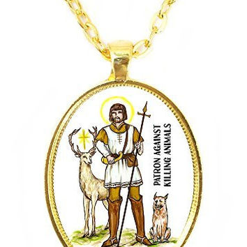 St Hubert Patron Saint Against Killing Animals Huge 30x40mm Bright Gold Pendant with Chain Necklace