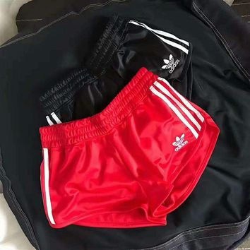 Adidas Classic Originals Fashion Women Casual Sports Running Gym Three Stripe Red Shorts I