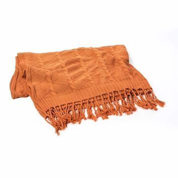 PUMPKIN CABLE AND TWIST KNIT THROW