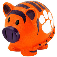 NCAA Clemson Tigers Resin Small Thematic Piggy Bank, One Size, Orange