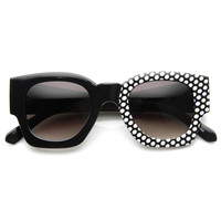 Womens Half Print Graphic Square Horned Rim Sunglasses 9134