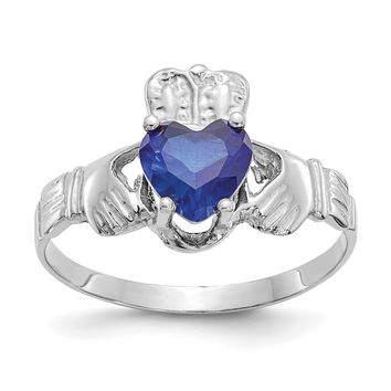 14k White Gold September Blue Sapphire Heart Claddagh Ring