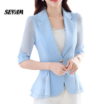 SEYAM S-3XL Plus Size Ladies Blazers Jacket Half Sleeve Elegant Office Blazer for Women Spring Autumn Clothes ow0253