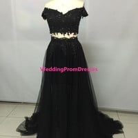Pretty Black Tulle Off Shoulder Two Pieces by WeddingPromDresses