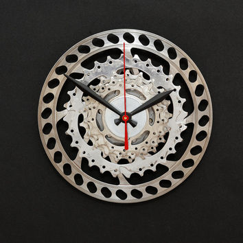 Bike Clock, Bicycle Wall Clock, Steampunk, Upcycled Bike Parts Clock, Bike Gifts, Gear Clock, Steampunk Clock, Gift for Him