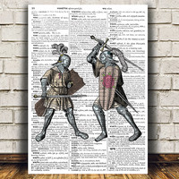 Knight poster Medieval print Dictionary print Vintage decor RTA1103