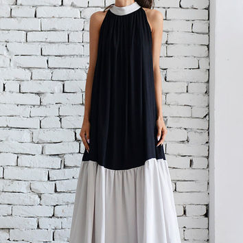 SALE Black and Beige Long Dress/Sleeveless Maxi Black Dress/Loose Beige Kaftan/Two Color Casual Dress/Oversize Summer Tunic Dress/Collar Top