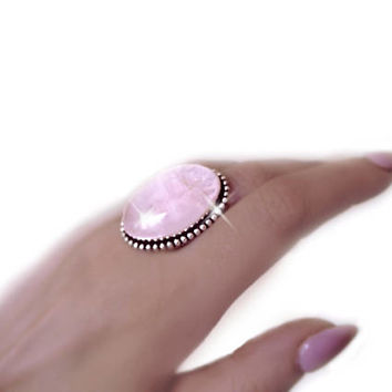 Rose quartz ring, pink quartz ring, boho ring, sterling silver ring, pink crystal ring, gemstone ring, statement ring, gypsy ring