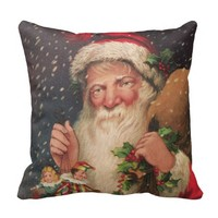 Vintage Christmas Postcard Image - 16 x 16 inch Polyester Throw Pillow | Zazzle.com