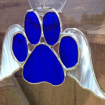 Dark Blue Stained Glass Paw Print With Angel Wings Suncatcher