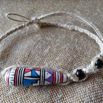 Bracelet-Hemp Bracelet-Macrame Bracelet-Tribal Jewelry-Boho Style Bracelet-Bohemian Accessories-For Men-For Women-Beaded Bracelet-#280
