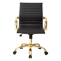 Mid-Back Black And Gold Desk Chair