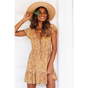 Yellow Floral Print V Neck Short Sleeve Valentina Dress