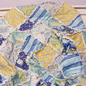 Rag Quilt, Lap Quilt,Throw Quilt, Little Azalea, Dena Designs, Cottage Chic, Shabby Style, Blue, Aqua, Yellow, 48 X 62, Ready To Ship,