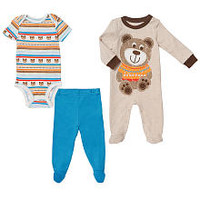 Koala Baby Boys' 3 Piece Blue/Brown Bear Layette Set with Footie, Short Sleeve Bodysuit and Footed Pants