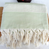 Handwoven Mint Peshtemal,  Bath Towel,Organic,Natural, Eco Friendly ,High Quality Peshtemal