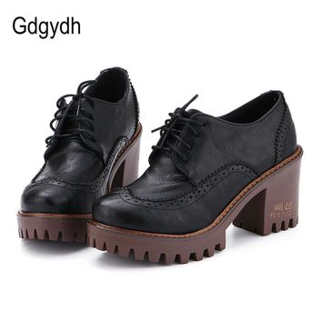 Gdgydh Lace Up Women Shoes Pumps 2017 New Spring Round Toe Female Casual Square High Heels School Shoes Platform Woman Size 43