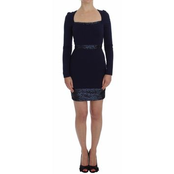 Versace Blue Long Sleeve Mini Sheath Dress