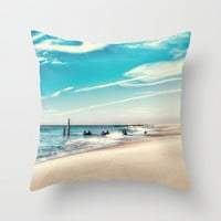 The Shore of Cape May, Photo Throw Pillow Cover, Home Decor, Cape May, New Jersey, NJ, Jersey Shore, Ocean, Nautical, Beach, Bright Blue