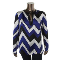 Lauren Ralph Lauren Womens Satin Chevron Tunic Top