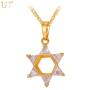 U7 New Hot Crystal Star Of David Pendant For Women Men Gold Color Cubic Zirconia Magen Necklace Jewish Jewelry P913