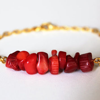 friendship bracelet Coral Beaded Bracelet with golden plated chain
