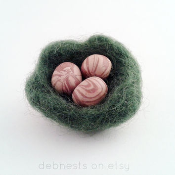 Polymer Clay Eggs in Felt Bird Nest Brooch in Green, Brown, Beige