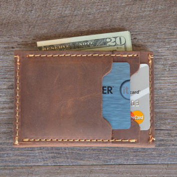 Leather Wallet, Personalized Leather Wallet, Front Pocket Slim Design, Minimalist Credit Card Wallet, Men's Leather Wallets, Groomsmen Gift