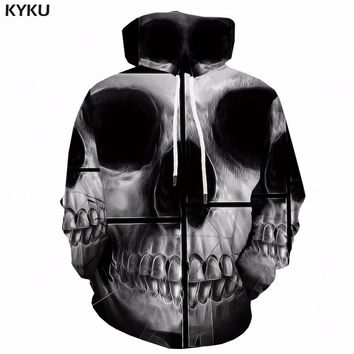KYKU Skull Hoodie Men Print Sweatshirt Geometric Anime 3d Hoodies Sweatshirts Casual Gray Mens Clothing New Hooded Pullover 6xl