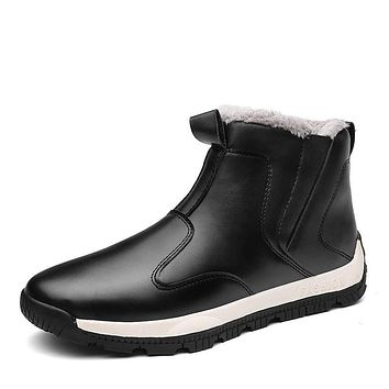 YZHYXS Snow Boots For Men High Top Pu Leather Waterproof Mens Ankle Short Boots Winter Casual Shoes