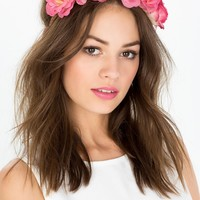 Large Rose Bloom Stretch Skinny Headband