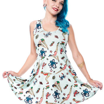 Sourpuss Tattooed Divers Skater Dress 1920s inspired