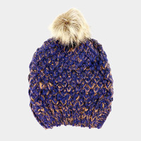 Women's Navy Blue & Orange Two Tone Cable Knit Fur Pom Pom Beanie Cap Hat