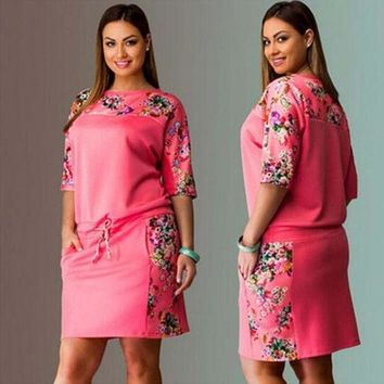 LMFUG3 Summer Plus Size Women's Fashion Half-sleeve Print Hoodies Dress One Piece Dress [4919713412]