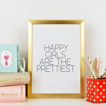 PRINTABLE ART Happy Girls Are The Prettiest,Audrey Hepburn Quote,Teenage Girl Print,Girls Room Decor,Teen Art,Audrey Hepburn Printable