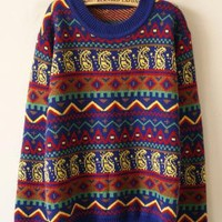 Blue Geometric Pattern Loose Pullovers Sweater S007236