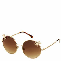 Palm Tree Round Sunglasses - Gold