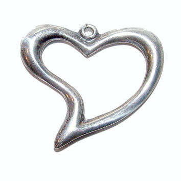 Sterling Puffed Witches Heart Vintage Charm