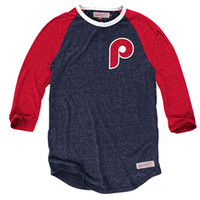 Mitchell and Ness Philadelphia Phillies Mens Hustle Play Fashion - Navy Blue