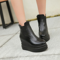 White and Black Wedges Boots Women Shoes Fall|Winter 11191501