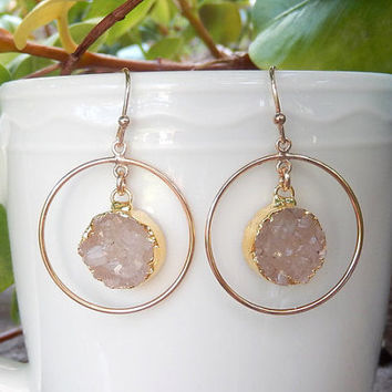 White Druzy Earrings Gold Chandelier Drusy Hoop Quartz Crystal Round Circle Drops - Free Shipping Jewelry